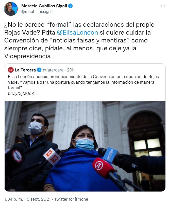 """¿No le parece """"formal"""" las declaraciones del propio Rojas Vade? Pdta @ElisaLoncon si quiere cuidar la Convención de """"noticias falsas y mentiras"""" como siempre dice, pídale, al menos, que deje ya la Vicepresidencia"""